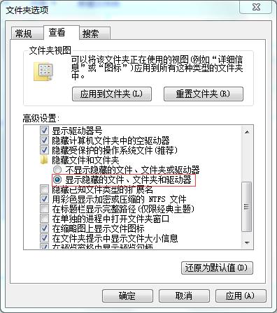 显示隐藏的文件设置