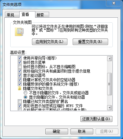 显示隐藏文件设置方法